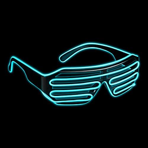 Balinco LED Brille mit 3 Blitzmodi - perfekt geeignet als Techno DJ   Festival   Halloween   Karneval   Fasching als Ergänzung zum Horror Kostüm (Türkis)