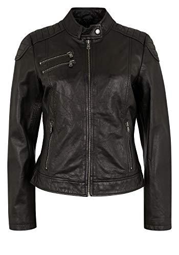 7eleven Damen Lederjacke Riviera im Biker-Look Black, 48