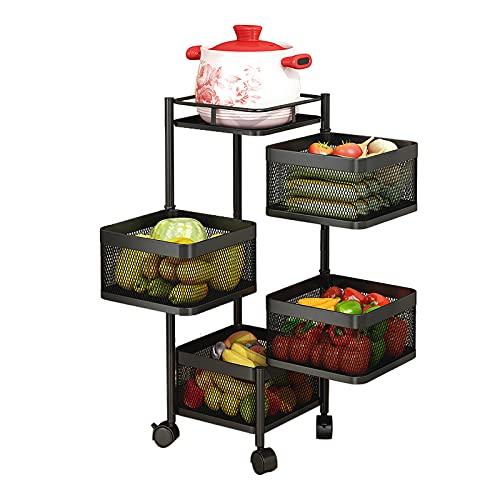 Carro de almacenamiento, cesta de almacenamiento giratoria libre de 270° carrito cocina, estante de almacenamiento multifuncional, para cocina, dormitorio, baño, aparadores, oficina,4 tier