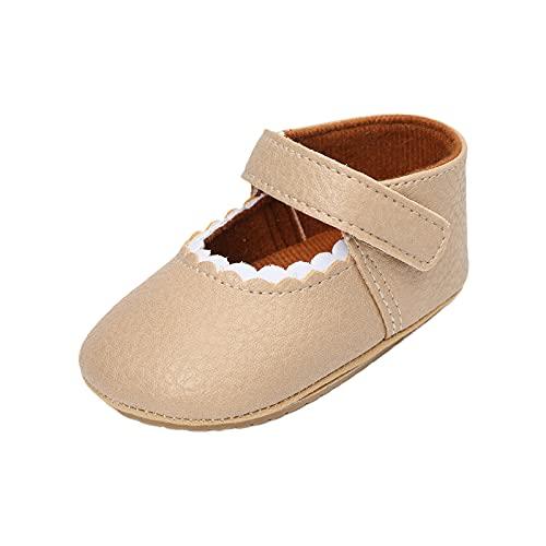 JDGY Sandalias para niña, bebé, princesa, zapatos para aprender a caminar, antideslizantes, zapatos para bebé, verano, suela suave, zapatos informales para niños de 0 a 24 meses, beige, 19