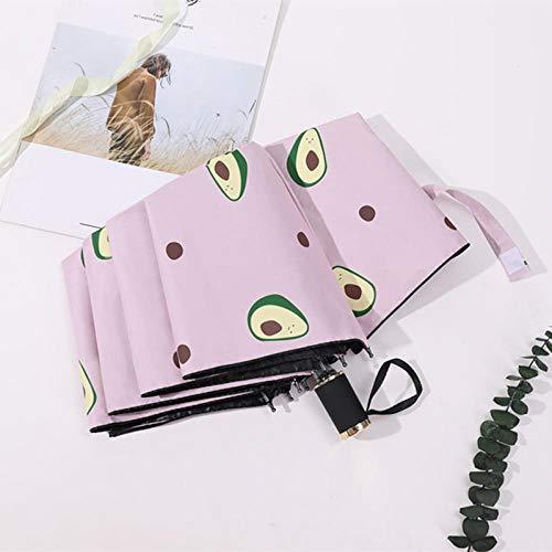 Taschenschirme Vollautomatischer Dreifacher Avocado Vinyl Sonnenschutz Regenschirm Anti-Ultraviolett Sonnenschirm Kleines Frisches Weibliches Jiuhe Pulver