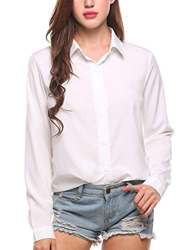 Zeagoo No Iron Shirt Women Button Down Blouse Office Collared Dress Shirt Roll Up Sleeve Chiffon Tops Casual Tee Shirt Fashion 2020, Solid White, Medium