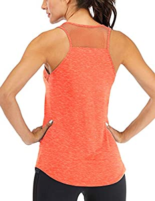 Fihapyli Women's Workout Tank Tops Breathable Mesh Backless Tank Yoga Tops for Womens Workout Tops for Women Loose Fit Pilates Tank Tops Open Back Racerback Tank Tops Fitness Muscle Tank Orange M