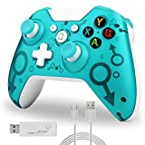 TechKen Green Wireless Controller Compatible with Xbox One S X PS3 and PC with 2.4G Connection