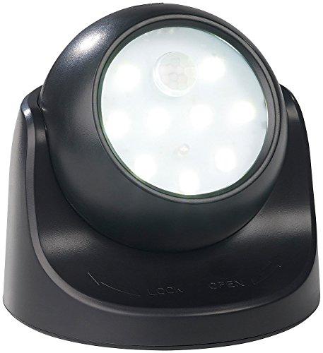 Luminea Nachtlichter: Kabelloser LED-Strahler, Bewegungssensor, 360° drehbar, 100 lm,schwarz (LED Spot Batterie)