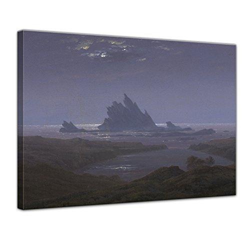 Wandbild Caspar David Friedrich Felsenriff am Meeresstrand - 70x50cm quer - Alte Meister Berühmte Gemälde Leinwandbild Kunstdruck Bild auf Leinwand
