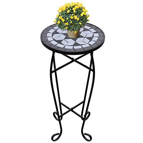 Wakects Tavolini da Appoggio Mosaico, Tavolo Mosaico Rotondo Ø 30 cm, Tavolo Mosaico in Acciaio per Piante Tavolino da Esterno, Set da Pranzo da Giardino, da Balcone (Bianco e Nero)