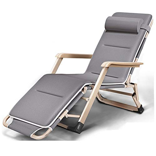 CHAIRQEW Silla reclinable de Alta Gravedad, reclinable y Plegable con tumbonas de jardín con reposacabezas Acolchados Ajustables 178 * 67 * 30cm (Color : Gray+Mat)