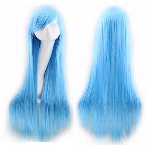 AMYHOME 80CM Femme Perruque Cosplay Longue Lisse Cheveux Perruque Soirée Manga Wigs Naturelle Perruque Carnaval Costume Halloween, Bleu Clair