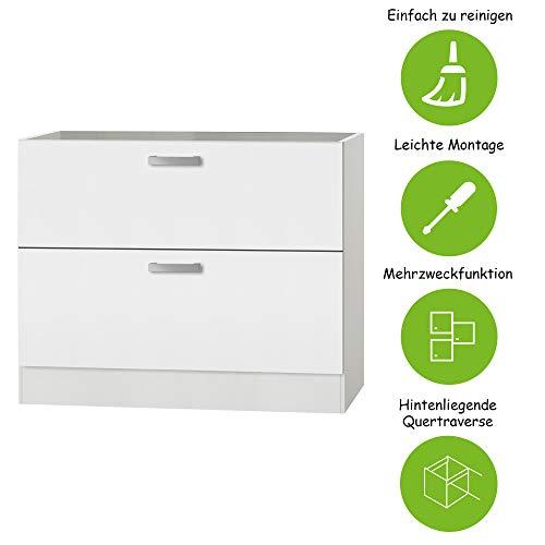 MMR Auszug-Unterschrank Küche DALLAS, für Töpfe und Vorratsdosen, ohne Arbeitsplatte, 2 Auszüge, 100 cm breit, Weiß