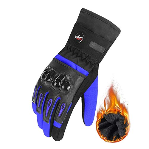 Dgtyui Motorcycle gloves cycling gloves gloves breathable motorcycle full finger waterproof and windproof winter - Blue X L