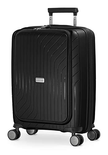 HAUPTSTADTKOFFER- TXL - leichtes Handgepäck mit Laptoptasche, Hartschalentrolley aus robustem Polypropylen, Business Trolley 55 cm, 40 L,TSA-Schloss, Schwarz