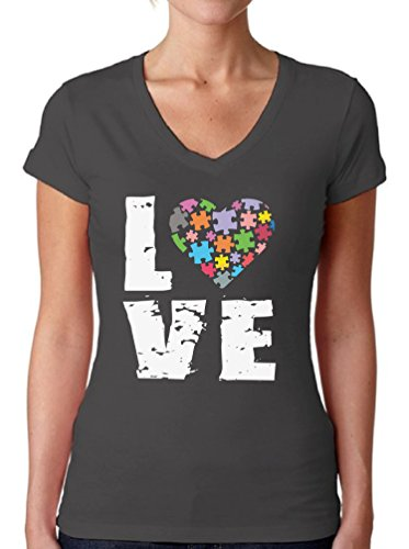 Awkward Styles Women's Love Puzzles Autism Awareness Graphic V-Neck T Shirt Tops Autistic Support Charcoal S