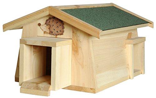 Luxus-Insektenhotels 22216e Igelhaus Mecki mit Zwei Eingängen/Schleuse: Katzenschutz als Igelfutterhaus und Igelschlafhaus