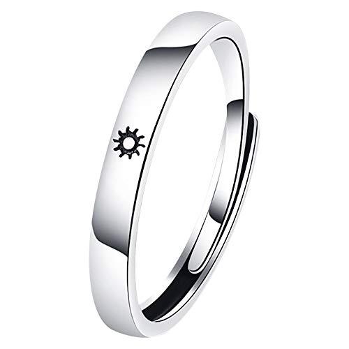 Juego de anillos chapados en oro con texto en inglés 'You are My Sun & Moon' para parejas, anillos de promesa para el día de San Valentín,