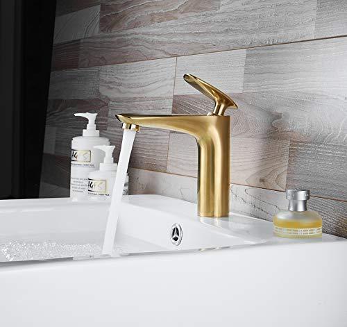 Grifo monomando para lavabo de baño, color dorado cepillado