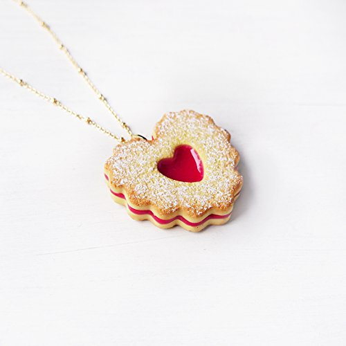 Elfi Handmade Cute Heart Shape Jam Cookie Necklace, Marmalade Biscuit Jewelry, Linzer Heart Jewelry ,Kawaii,perfect for Christmas gift Michigan
