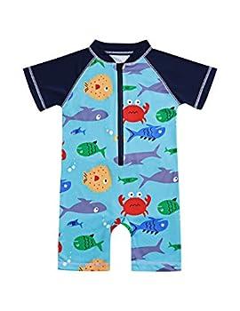 Toddler Kids Baby Boy 6 12 18 24 Months Swimsuit Short Sleeve Bathing Suit Shark Pattern One Piece Swimwear Blue 2-3 T