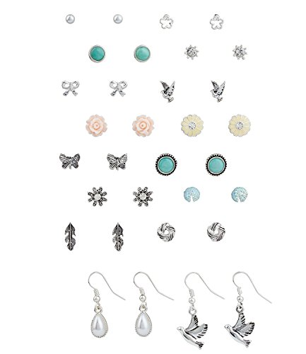SIX - 1 set of 16 mixed earrings, silver-coloured ear studs, dangle earrings with floral design, rose, butterfly, feather, bird (455-535)