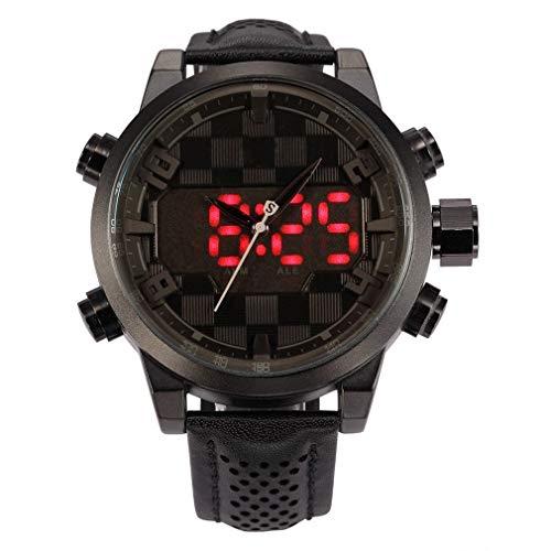 RENJUN Sport-Uhr, Luxury Leather Package Digital-Shark-Sport-Uhr wasserdichte Doppelzeit übergroße Kalender Alarm-Mann-Quarz-Uhren