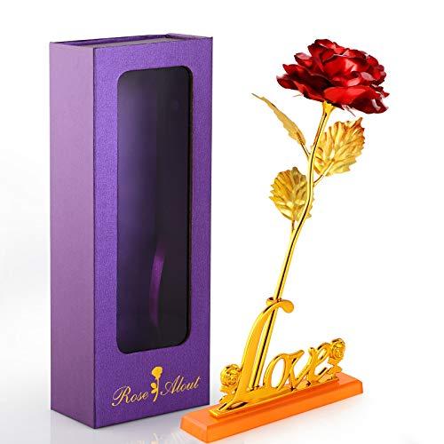 WD&CD Flor de Rosas Artificiales con Base Love, con Caja de Regalo Mejor Regalo, Decor Romántica para Siempre para el día de la Madre, día de San Valentín, Aniversario Bodas, Rojo