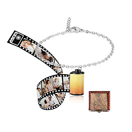 JINSIKUO Personalised Keychain Bracelet Necklace Earring with Photo & Text,Custom Photo Picture Camera Film Roll Album Keychain with Photo Reel Album Personalised Photo Gift for Men Women