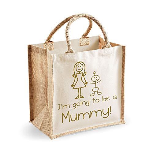 60 Second Makeover Limited Medium Sac de jute I'm Going To Be A Mummy Naturel Sac Doré Texte fête des mères Nouvelle Maman anniversaire Cadeau de Noël