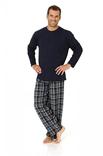Herren Pyjama Mix& Match Schlafanzug, Hose gewebt, Oberteil Wirkware, 101 90 625, Farbe:Marine, Größe2:58