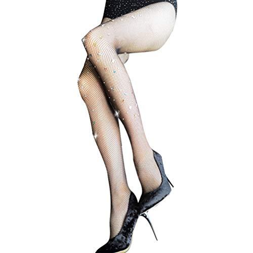 TENDYCOCO Fishnet Naadloze Stocking Strass Bling Antihook Stretchy Mesh Sheer Panty Tight Voor Vrouw Meisje Lady (zwart)