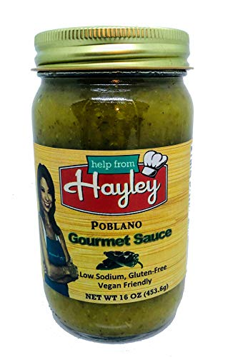 Poblano Sauce by Help from Hayley- low sodium, low fat, vegan friendly, gluten free, mild green chile sauce- 16 oz.