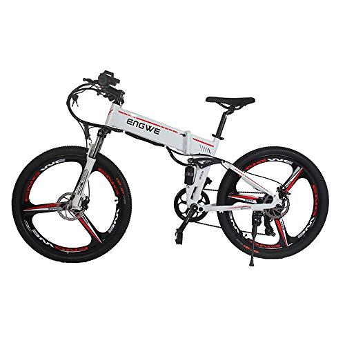 Bicicleta eléctrica de 26 pulgadas de aluminio plegable bicicleta eléctrica 400 W Potente bicicleta 48 V 12.5 A batería montaña ebike nieve/playa/ciudad e bike (blanco)