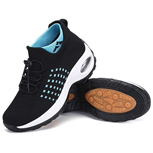 Zapatos para caminar, estilo calcetín, zapato deportivo de malla, fácil de colocar, cómoda plataforma con cojín de aire, mocasines con plataforma, para mujer, negro, 7
