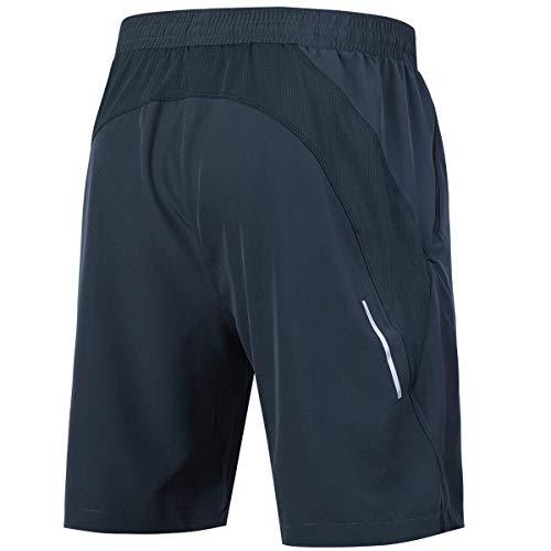 Souke Sports Men's Workout Running Shorts Quick Dry Athletic Performance Shorts Black Liner Zip Pockets (Darkgrey,Large)