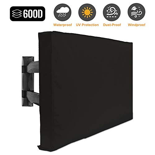 "Outdoor TV Cover 55"" - 58"" - with Bottom Cover - 600D Weatherproof and Dust-Proof Material- Fits Your TV Better"