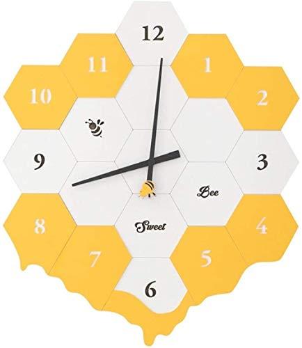 Warm Home Creative Yellow Hive Bee Mute Reloj de pared para dormitorio de niños Kindergarten Decoración para el hogar, Artículos de decoración Ornamento Artesanía Regalo Infantil 40 * 47 cm