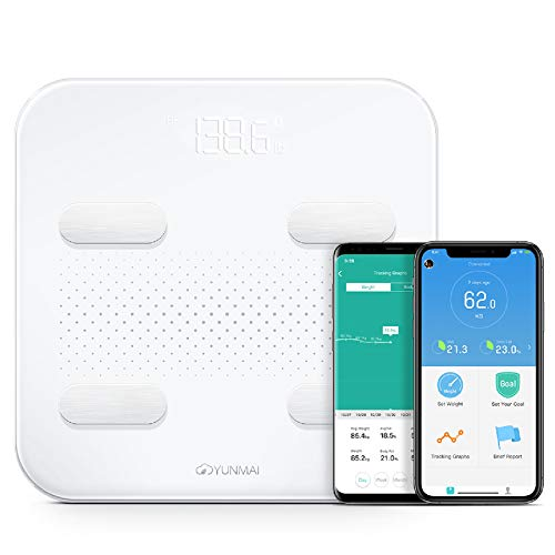 Yunmai S Body Fat Smart Scale 2ND GEN for 2020 | Full Size Bluetooth, BMI, Water Weight and More. Rechargeable with Free App