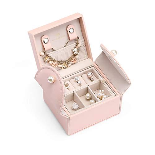 ZRJ Caja para Joyas Caja pequeña de joyería 2 Capas Organizador de joyería Botones Pendientes Collares Caja de Viaje portátil Cajas (Color : Pink)