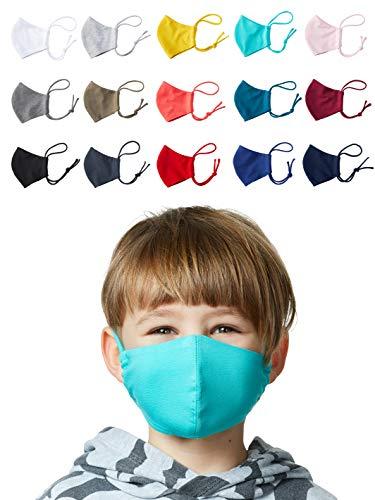 Enter the Complex® Mund und Nasen Maske Waschbar zum Binden, Weiche Behelfsmaske für Kinder bis 6 Jahre, Baumwolle, Anthrazit