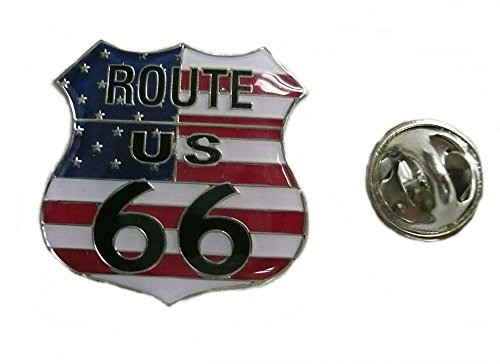 Anstecker Pin Button Metall US Route 66 Flagge USA