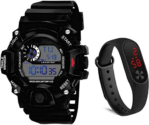 RPS FASHION WITH DEVICE OF R Digital Boys &Kids Watch (Black Dial) White & Black Watch Pack of 2