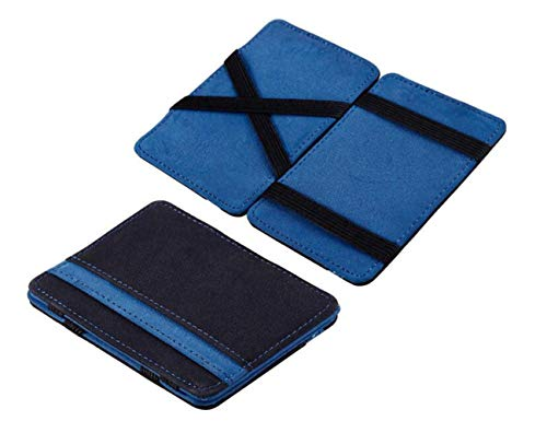 Saisiyiky Mini Carteras monedero Grind neutral Magia monedero Bifold Billetera de cuero Purse Card (Azul)