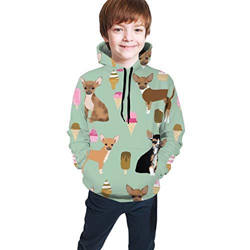 Chihuahua Ice Cream Summer Dog Breed Pattern Dark Mint Cartoon Sweatshirts Boys Girls Hoodie Kids Pullover Hoodies