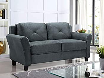 Lifestyle Solutions Taryn Rolled Arm Fabric Loveseat  Gray