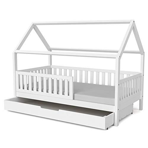 Nature Kid - Hausbett Lilly in Weiß mit Flachsprossen + 1 langer Bettkasten, 90x180 lackiert auf wasserbasis, Kinderbett Spielburg Spielbett Hüttenbett Kojenbett Jugendbett Holz Kinder