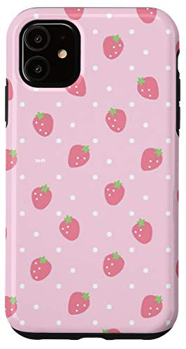 iPhone 11 Strawberry Case Strawberries Floral Pattern Red Fruit Emoji Case