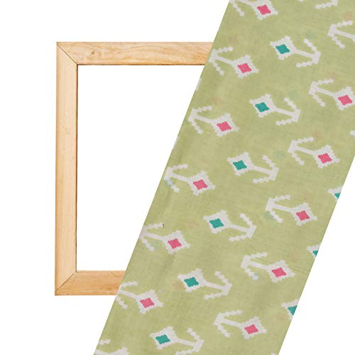 Rath Palace Arrow Design Cotton Fabric, Soft Decorative Dress Making Material with Tea Green Color (2.5 Meter)
