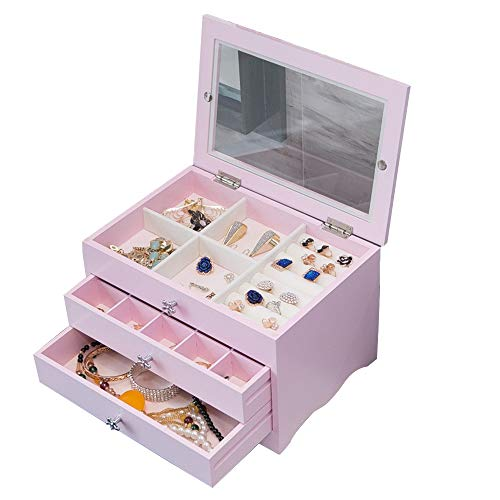 Oureong Jewelry Storage Box 3-Layer 2 Drawer Wooden Jewelry Box Armoire Necklace Ring Bracelet Storage Organise Jewellery Holder Vintage Case Gift (Color : Pink, Size : 27.31814.2CM)
