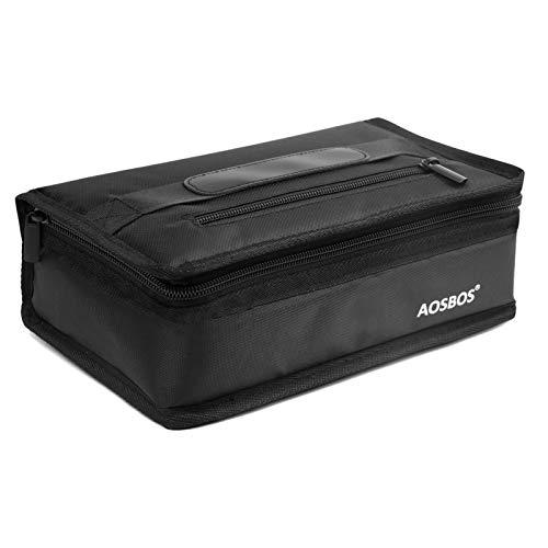 Aosbos Kühltasche Klein Leicht Lunch Tasche Isoliertasche für Brotdose Lunchbag zur Arbeit Schule Wasserdicht Reissverschluss Schwarz