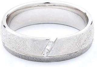 Breuning 18K White/Black Shiny & Matte Finish 0.03ct Round cut Diamond Wedding Ring [BR6111]