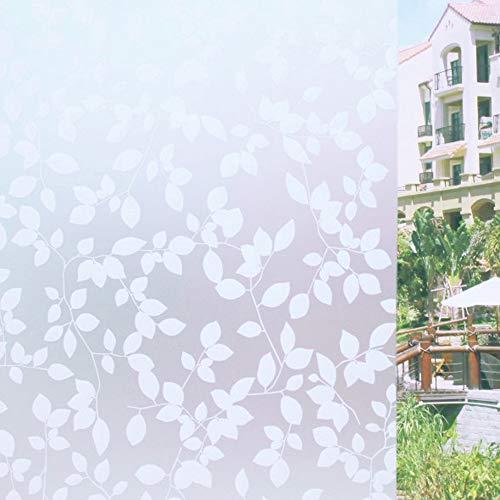 Tamia-Living milchglasfolie Fensterfolie Milchglas Duschkabinen Blickdicht Folie Fenster Selbstklebend Sichtschutzfolie Sichtschutz Statisch Haftend Glasdekor Blätter Weiß P022W (90x100cm)